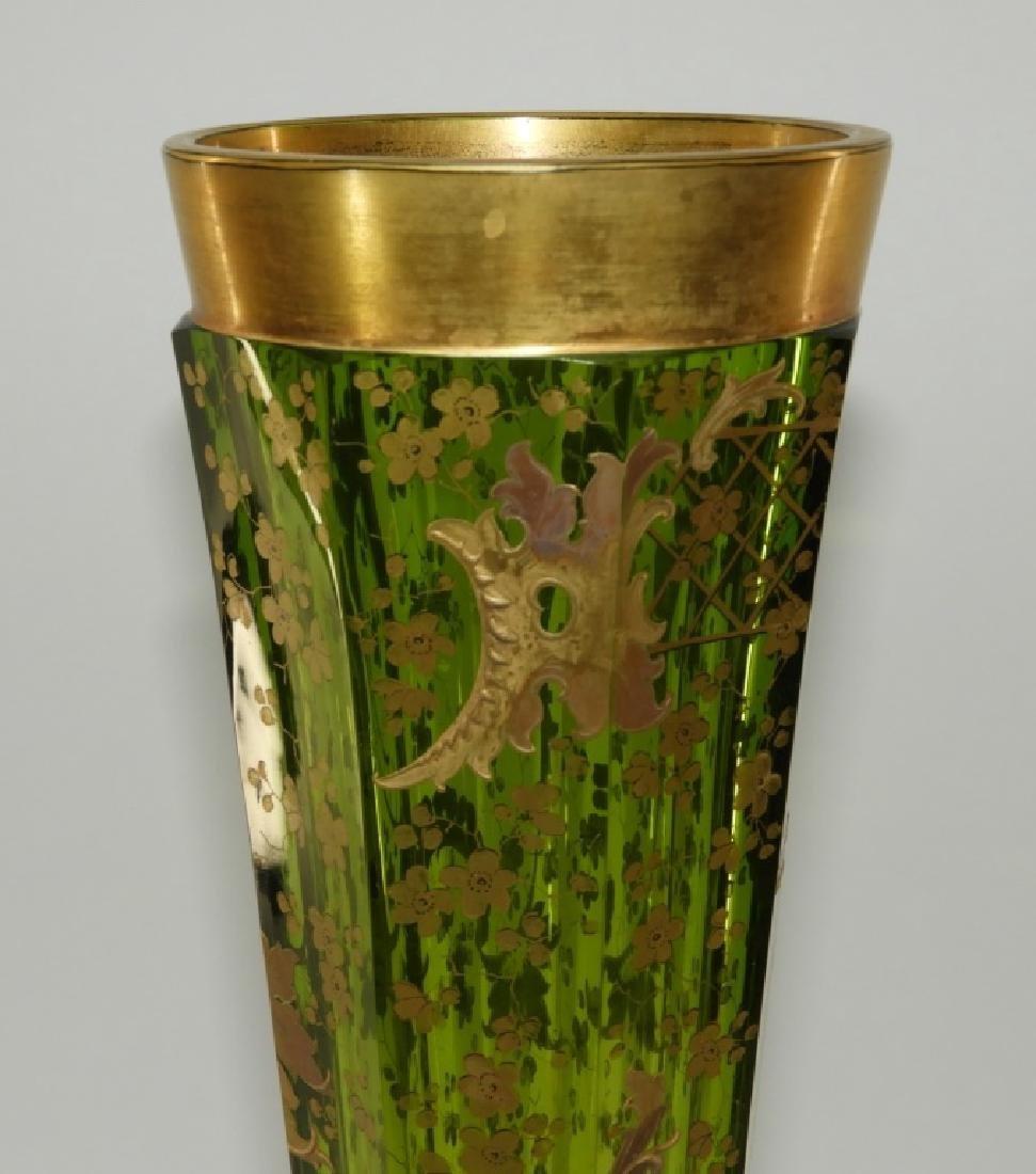 LARGE Czech Moser Gilt Cranberry Green Glass Vase - 2