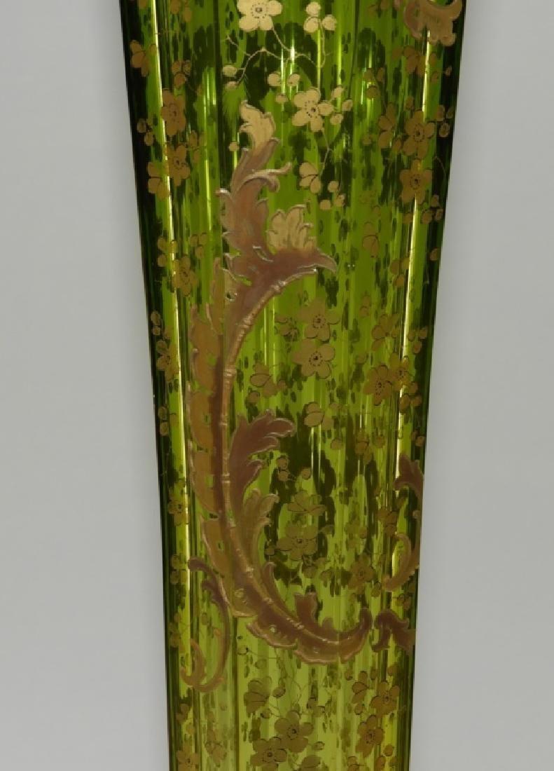 LARGE Czech Moser Gilt Cranberry Green Glass Vase - 3