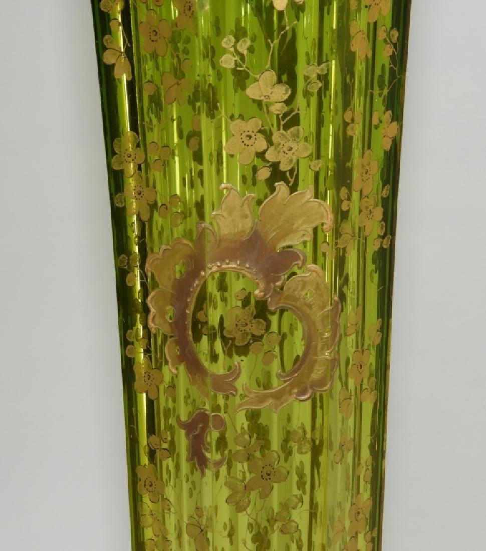 LARGE Czech Moser Gilt Cranberry Green Glass Vase - 6
