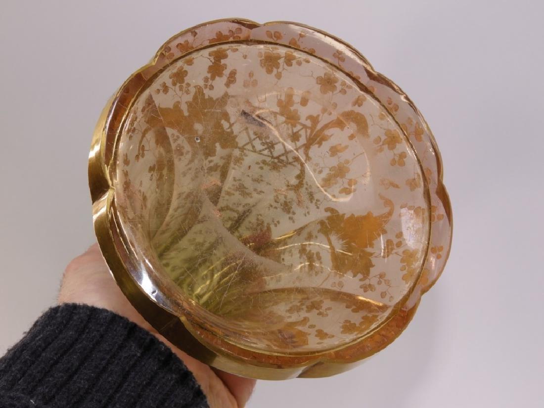 LARGE Czech Moser Gilt Cranberry Green Glass Vase - 7