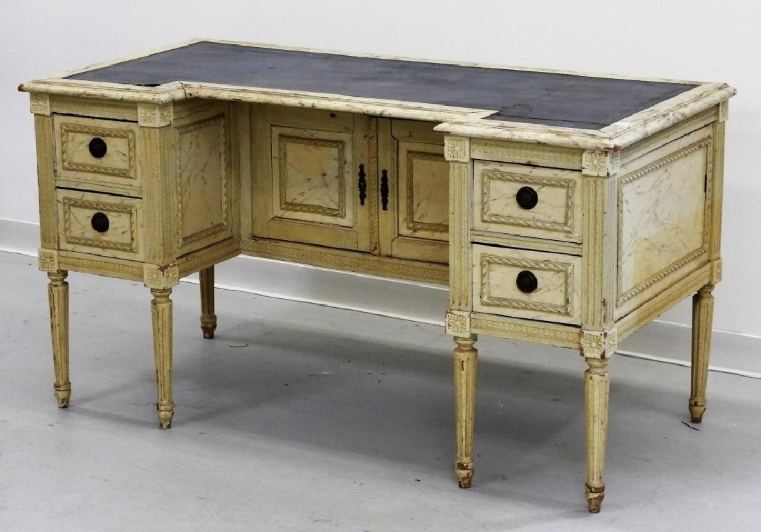 19C. French Louis XVI Faux Marble Leather Top Desk