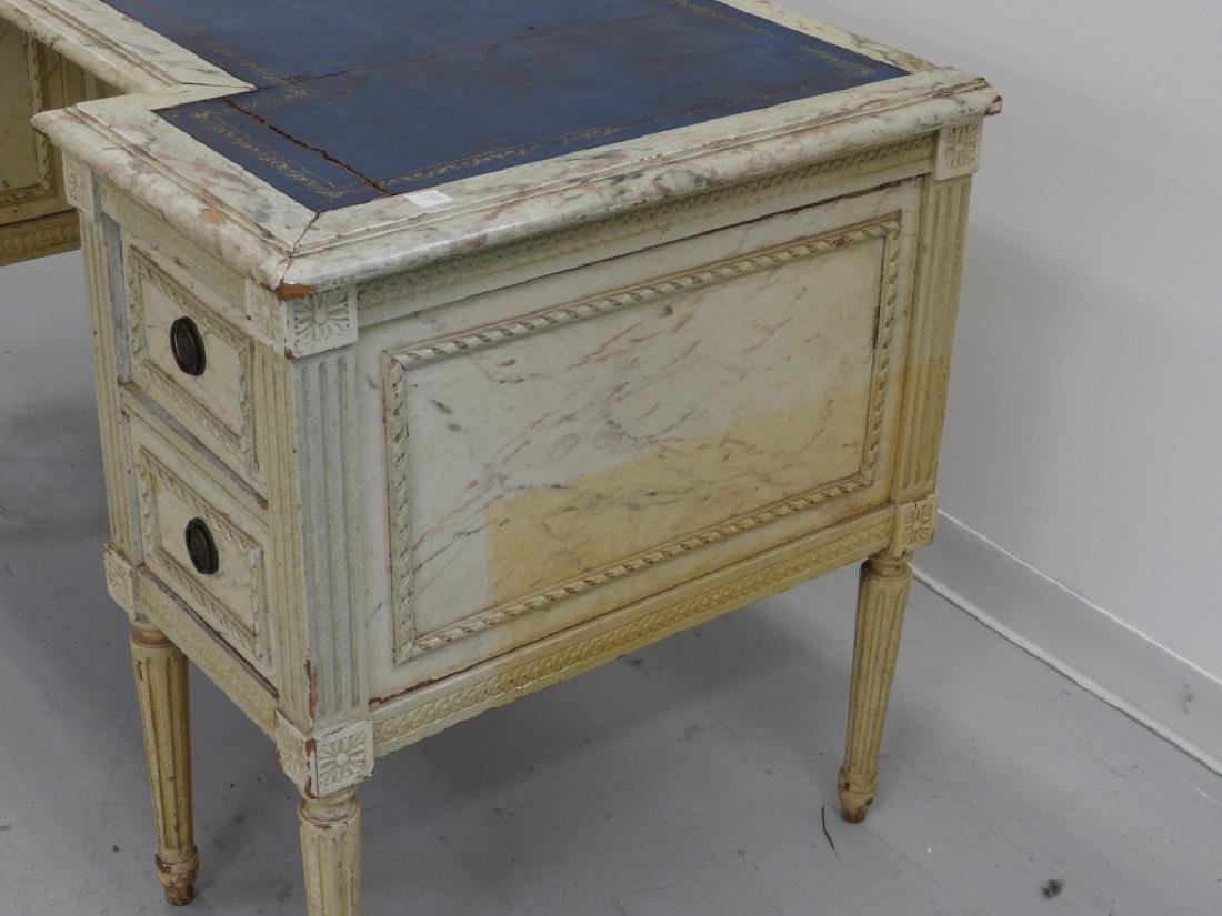 19C. French Louis XVI Faux Marble Leather Top Desk - 6