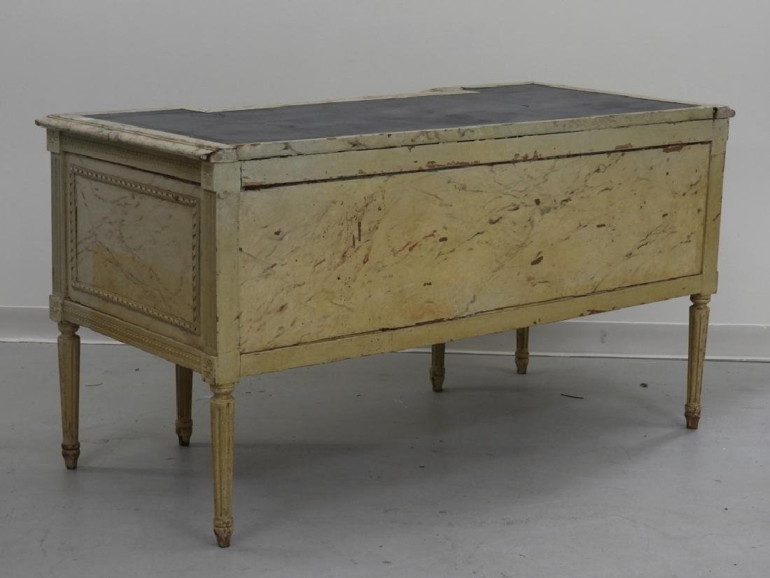 19C. French Louis XVI Faux Marble Leather Top Desk - 9