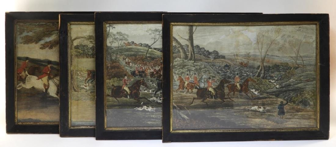 Set 4 18C. English Hand Colored Fox Hunting Prints