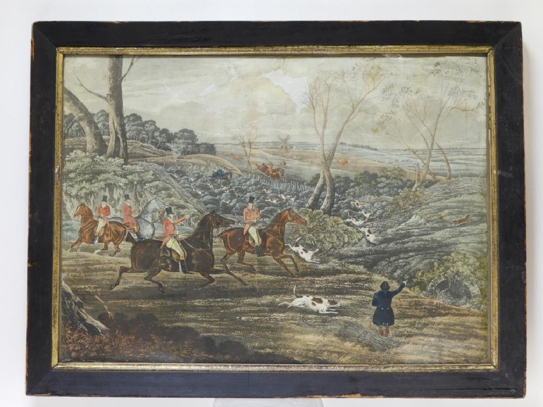 Set 4 18C. English Hand Colored Fox Hunting Prints - 2