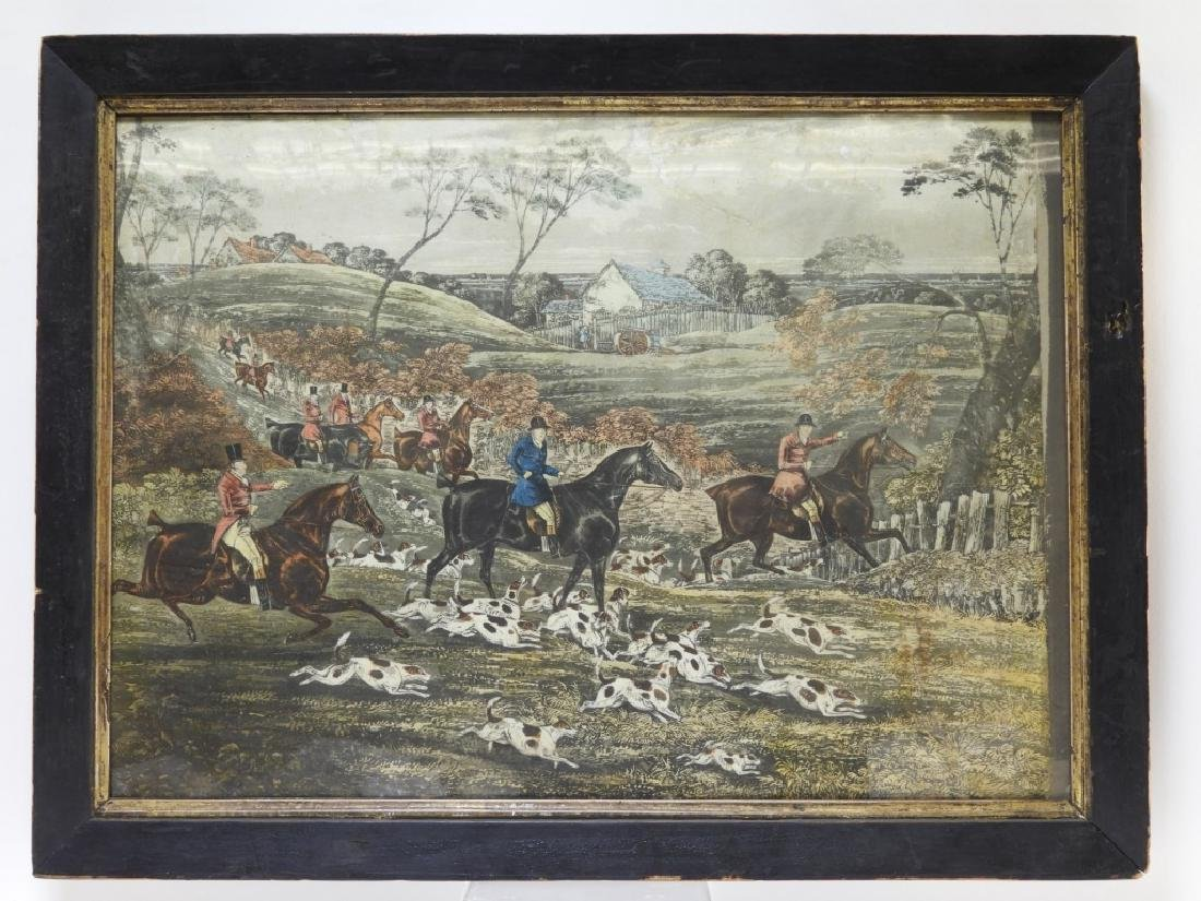 Set 4 18C. English Hand Colored Fox Hunting Prints - 4