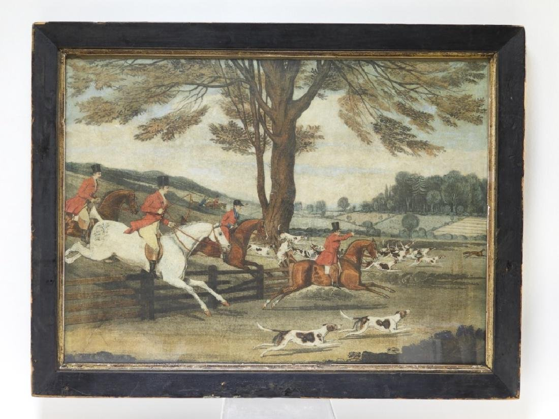 Set 4 18C. English Hand Colored Fox Hunting Prints - 8