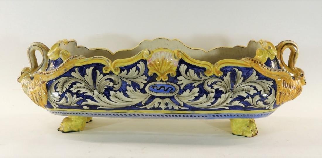 19C Italian Faience Pottery Swan Handle Jardiniere