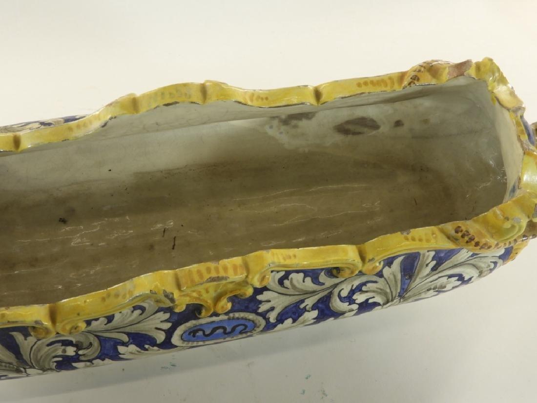 19C Italian Faience Pottery Swan Handle Jardiniere - 3