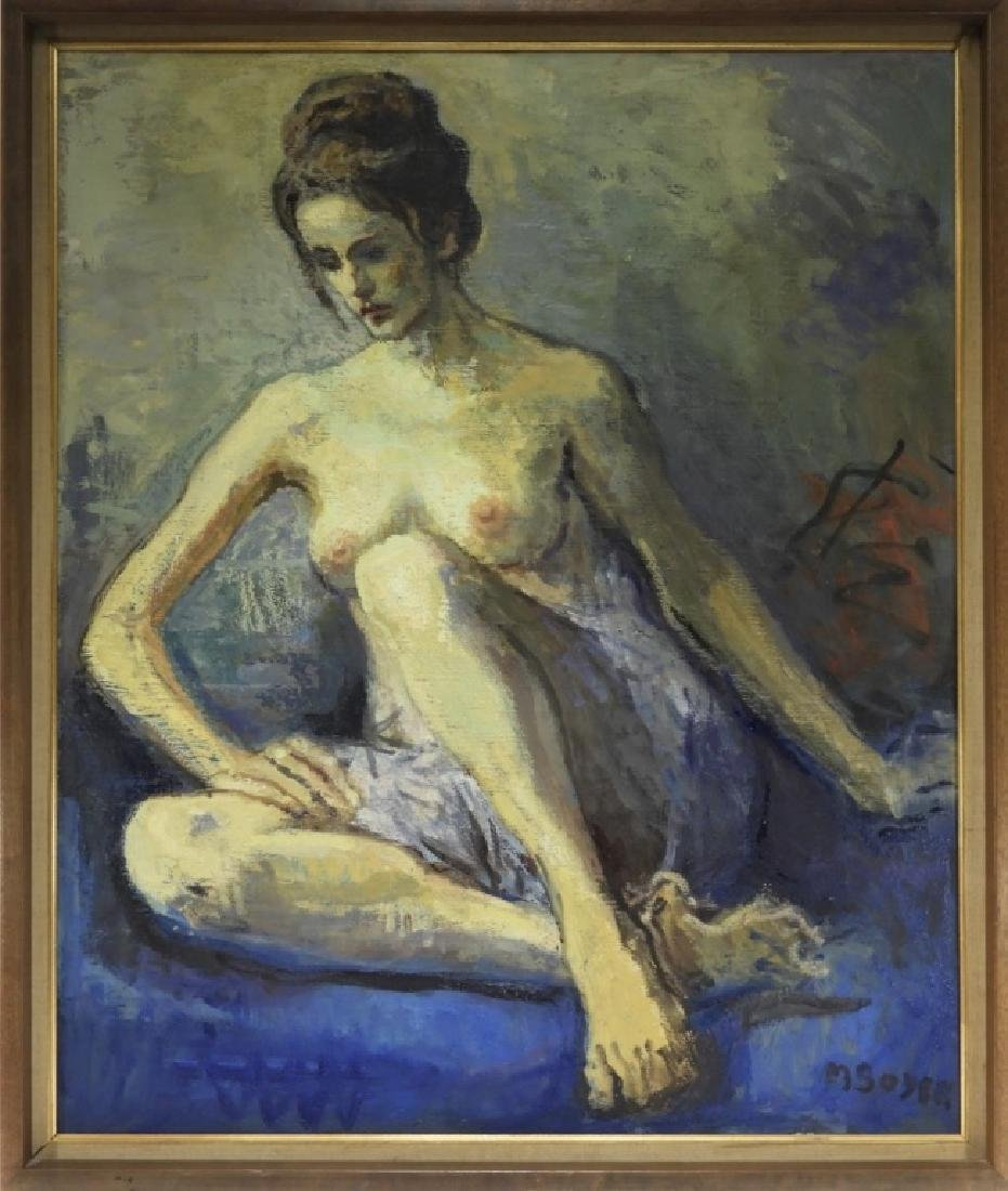 Moses Soyer O/C Painting of a Seated Female Nude