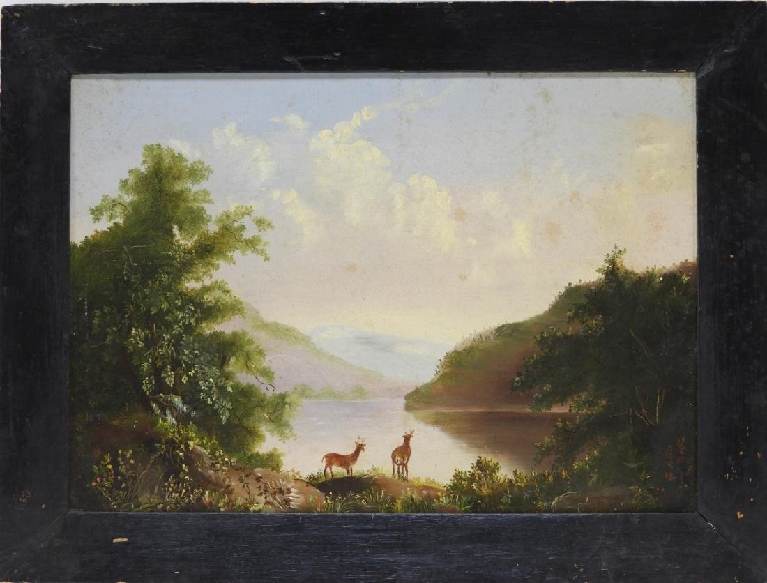 Luminist Hudson River Valley Painting of Deer