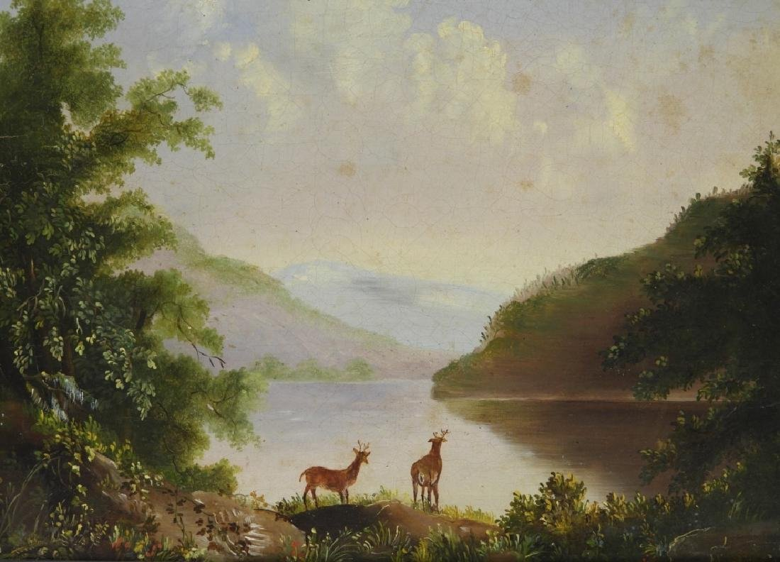 Luminist Hudson River Valley Painting of Deer - 2