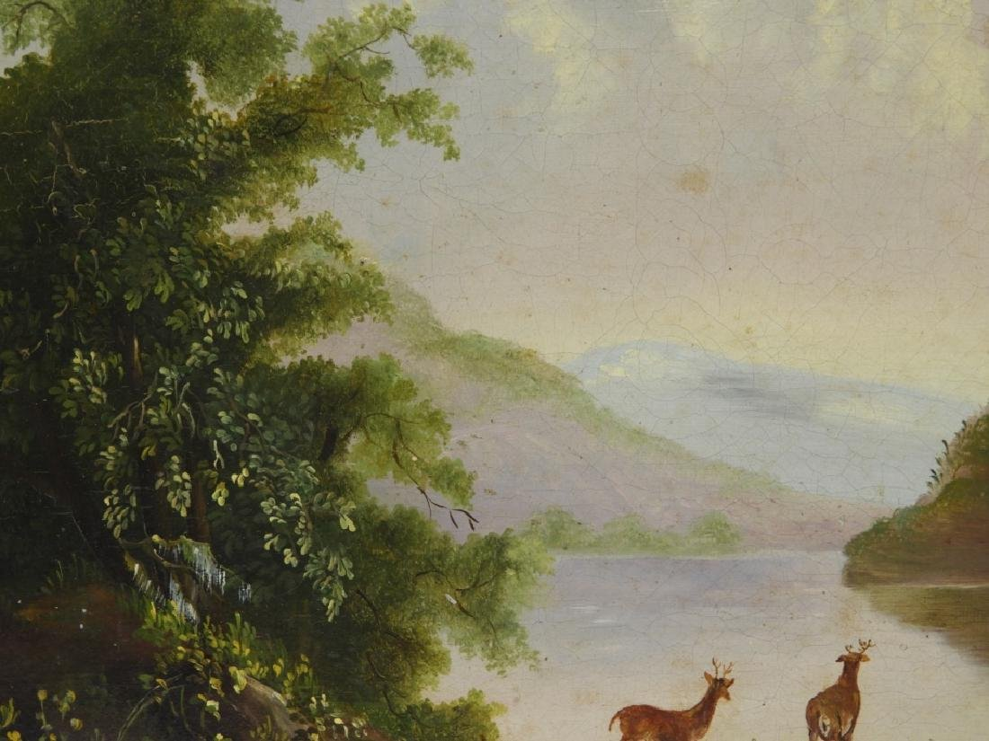 Luminist Hudson River Valley Painting of Deer - 3