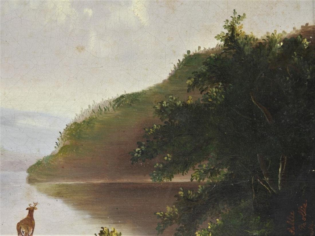 Luminist Hudson River Valley Painting of Deer - 4