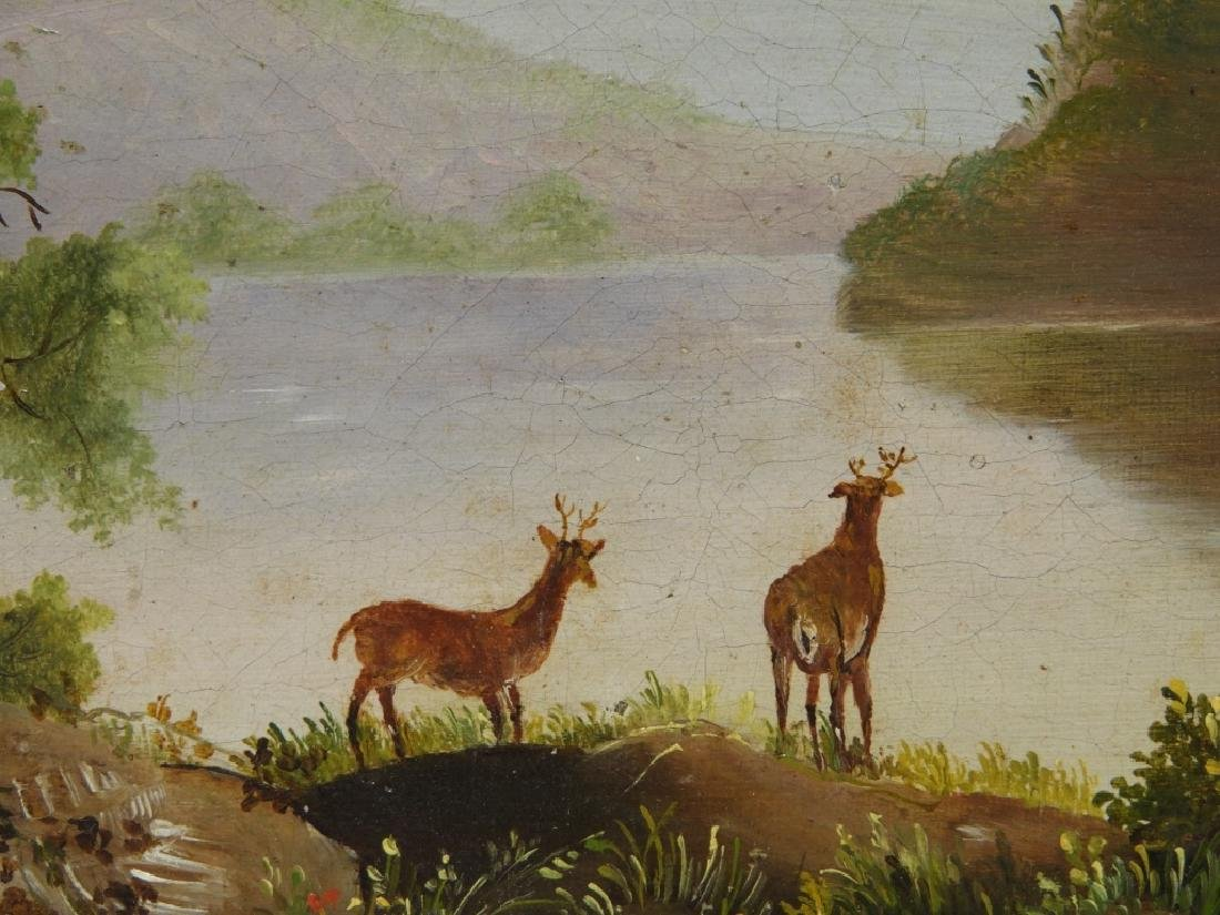 Luminist Hudson River Valley Painting of Deer - 5