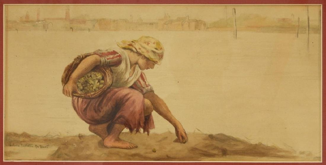 Antonio Paoletti Clam Digger Genre W/C Painting
