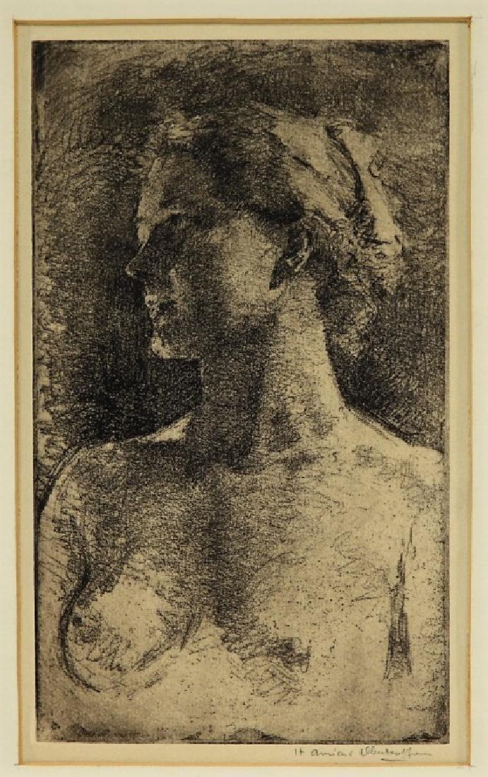 Henriette Oberteuffer MA Etching of Nude Female