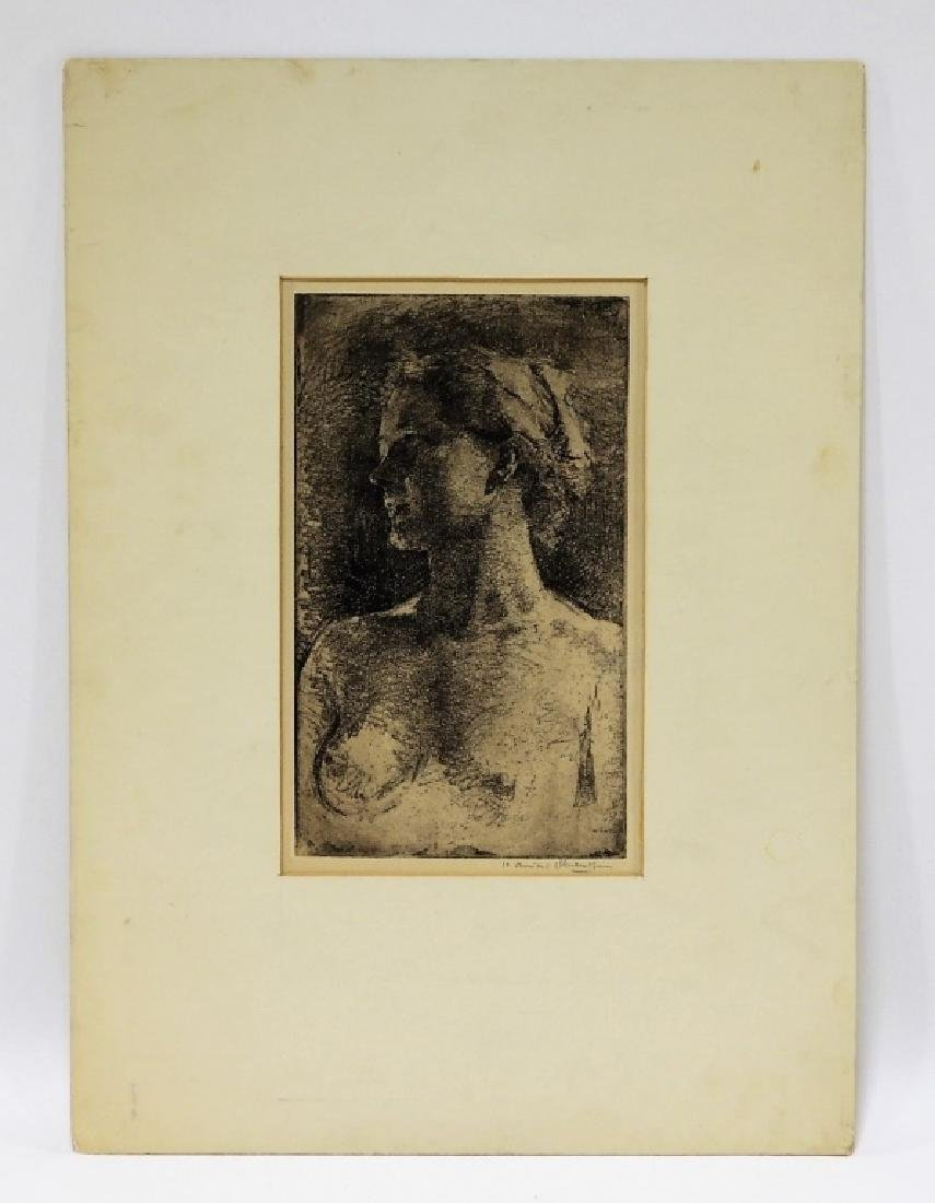 Henriette Oberteuffer MA Etching of Nude Female - 2