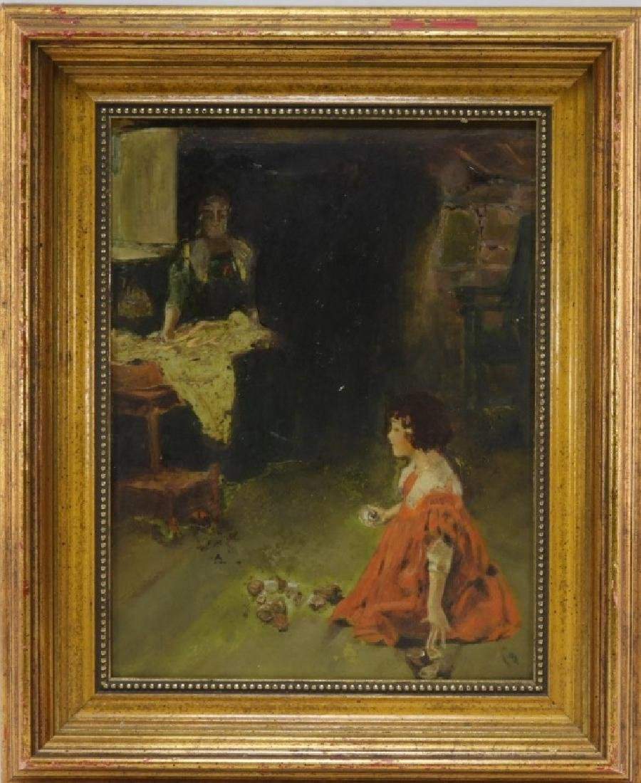 George Wharton Edwards O/B Painting of Girl