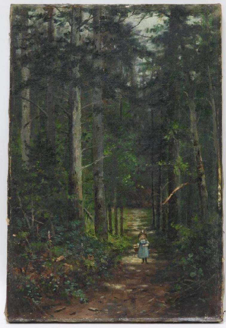 William H Hilliard Little Girl Forest O/C Painting