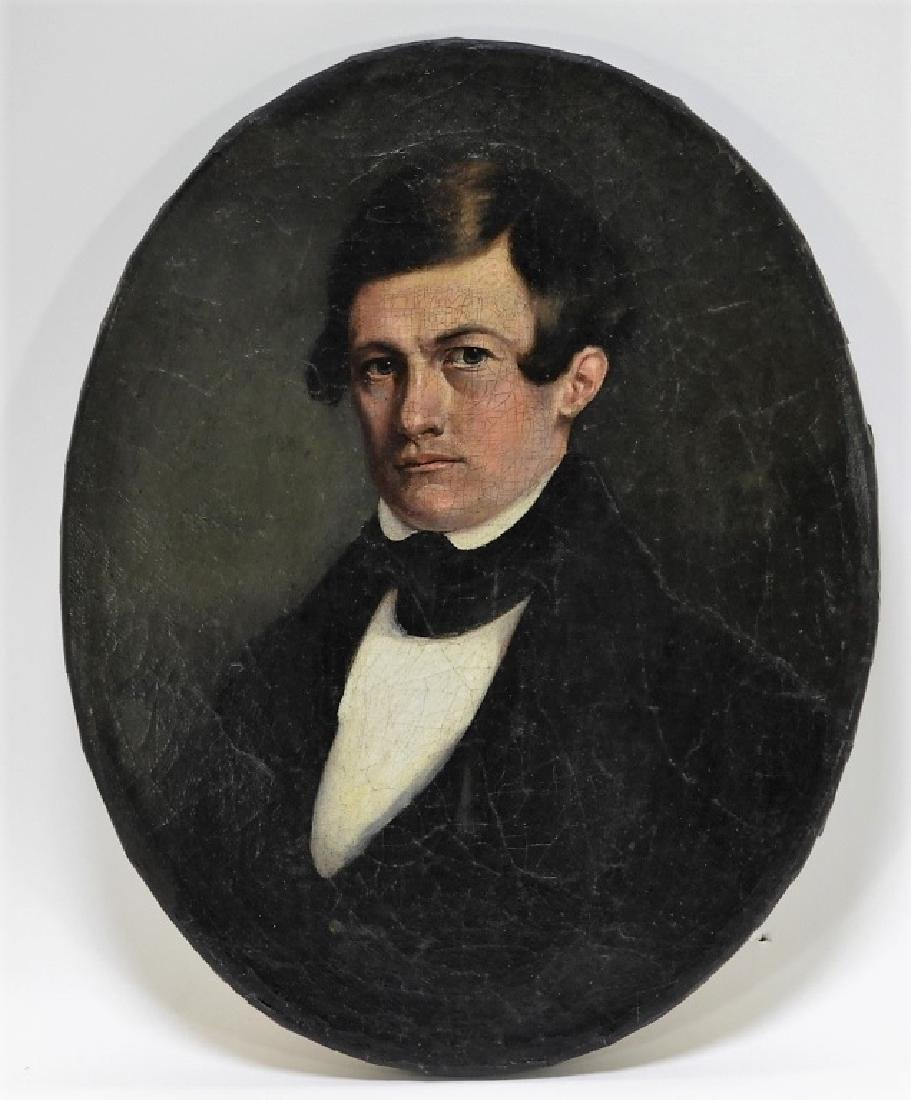 19C. American O/C Portrait of a Gentleman