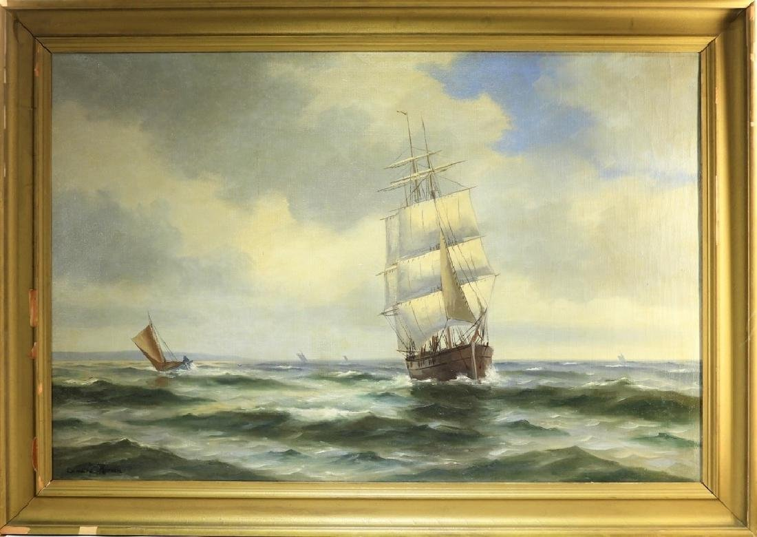 Signed Edward Moran Clipper Ship O/C Painting