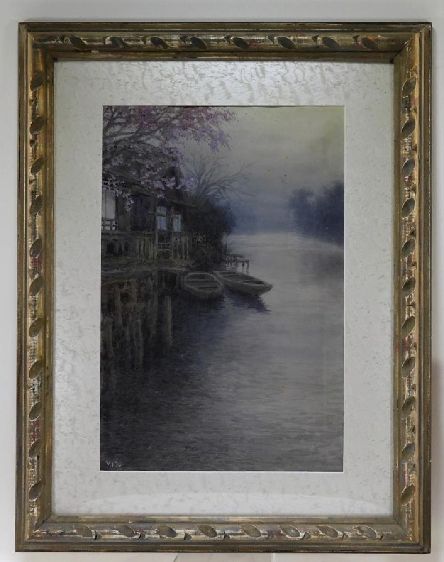 Y. Ito Japanese Wisteria River Landscape Painting - 2