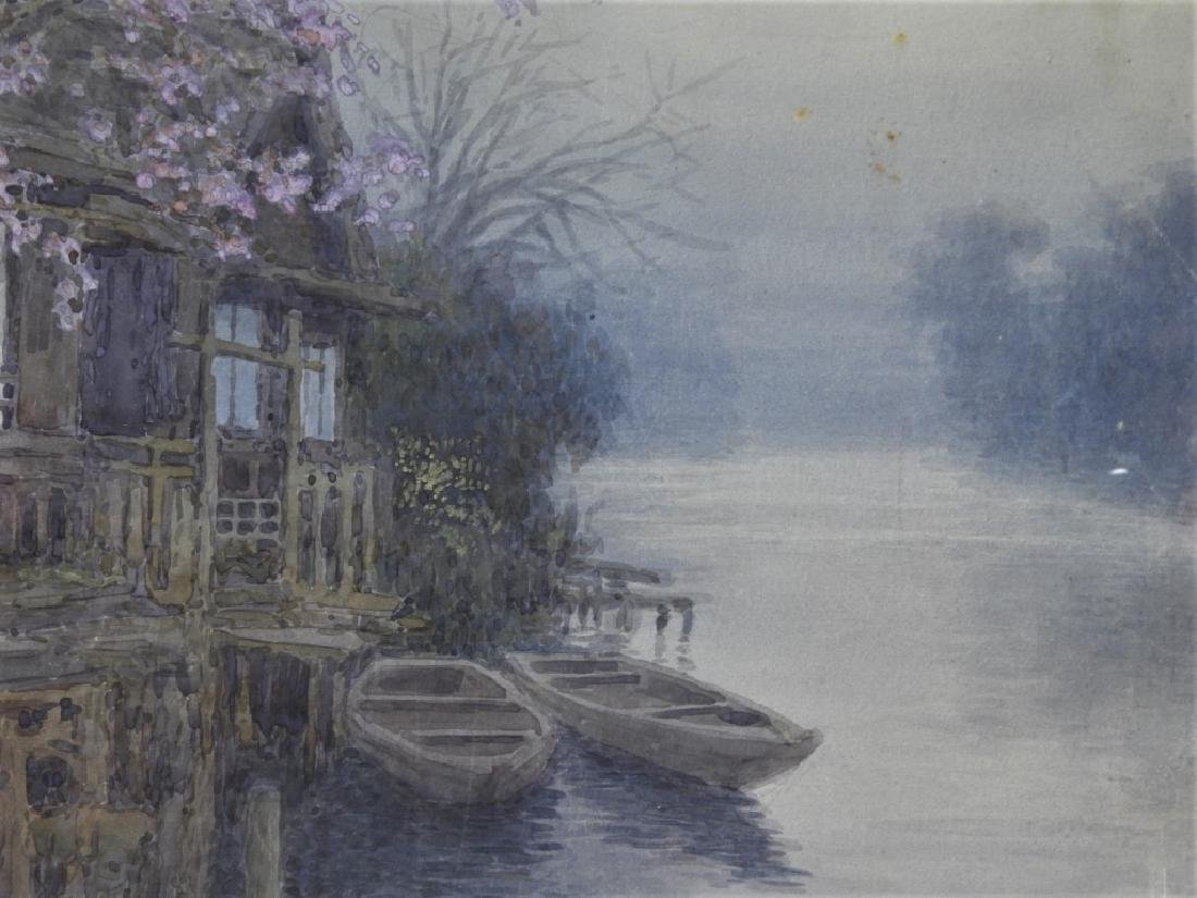 Y. Ito Japanese Wisteria River Landscape Painting - 3