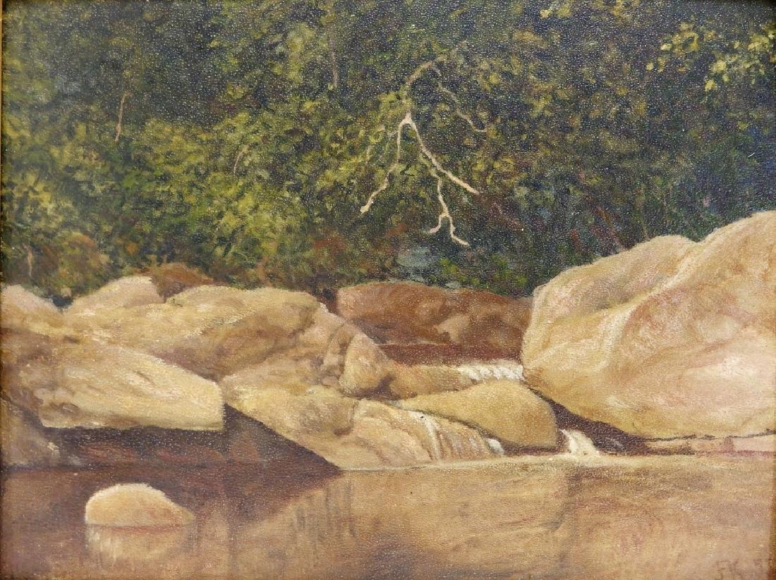 John Frederick Kensett O/B Rocky Stream Painting