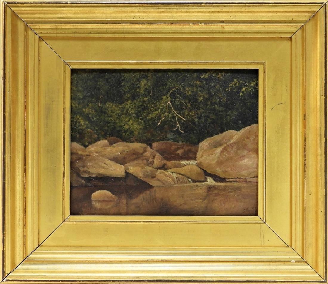 John Frederick Kensett O/B Rocky Stream Painting - 2