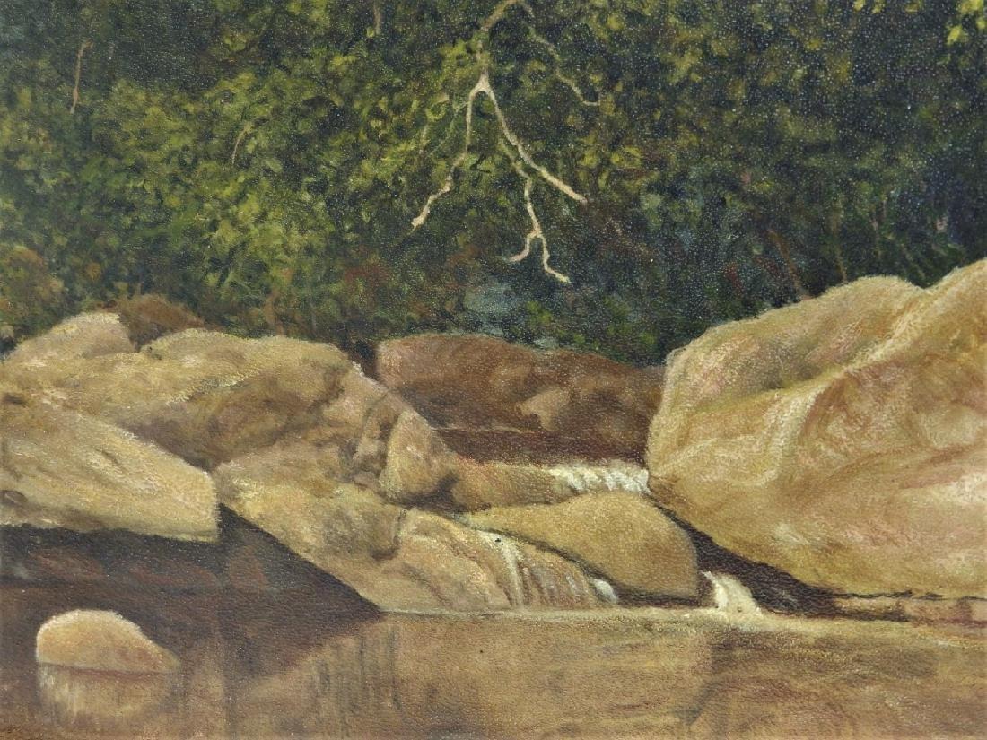 John Frederick Kensett O/B Rocky Stream Painting - 3