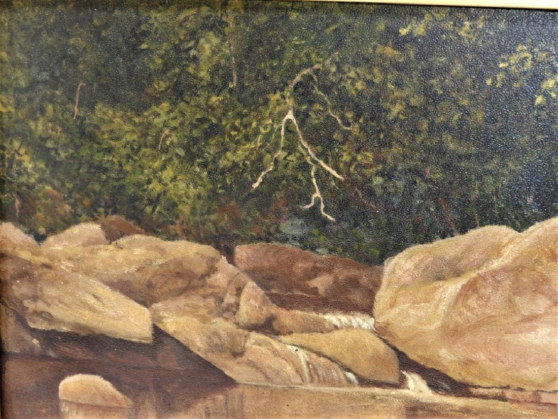 John Frederick Kensett O/B Rocky Stream Painting - 4