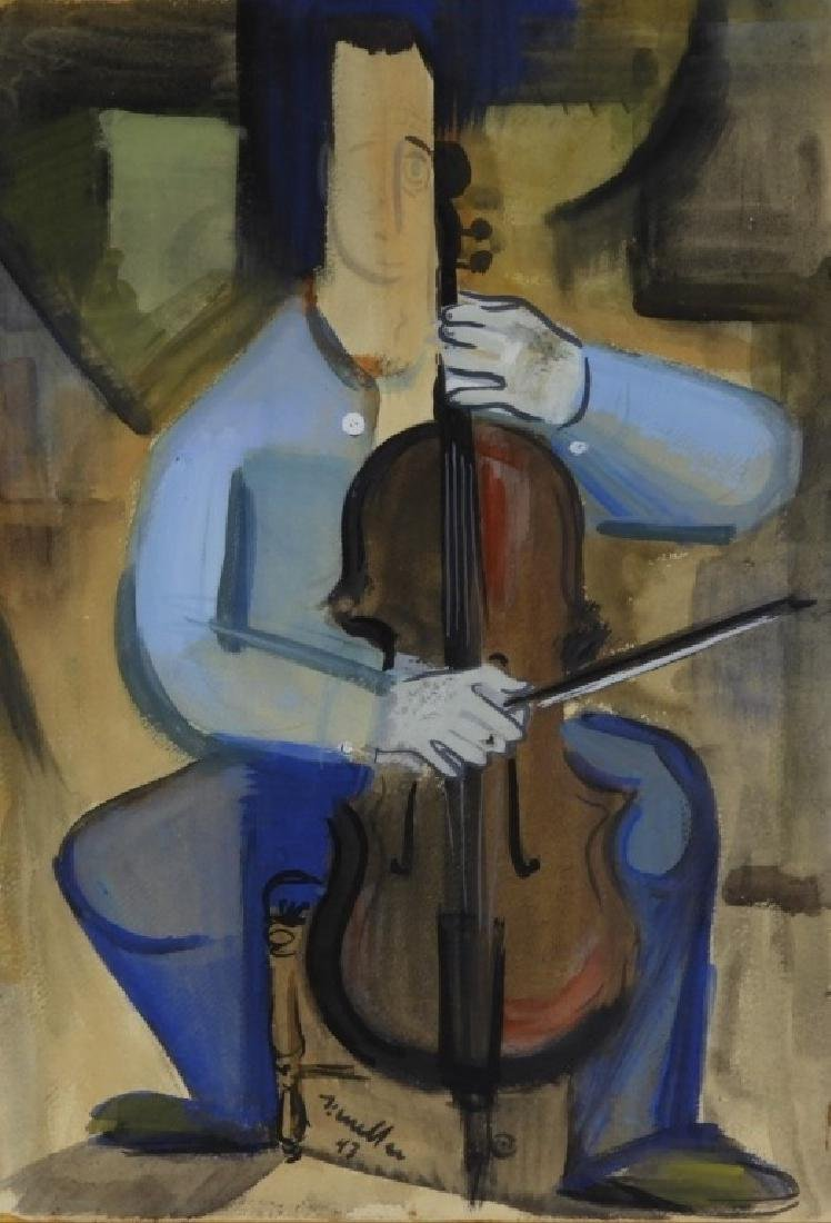 MCM Cubist Abstract Painting of Man Playing Cello
