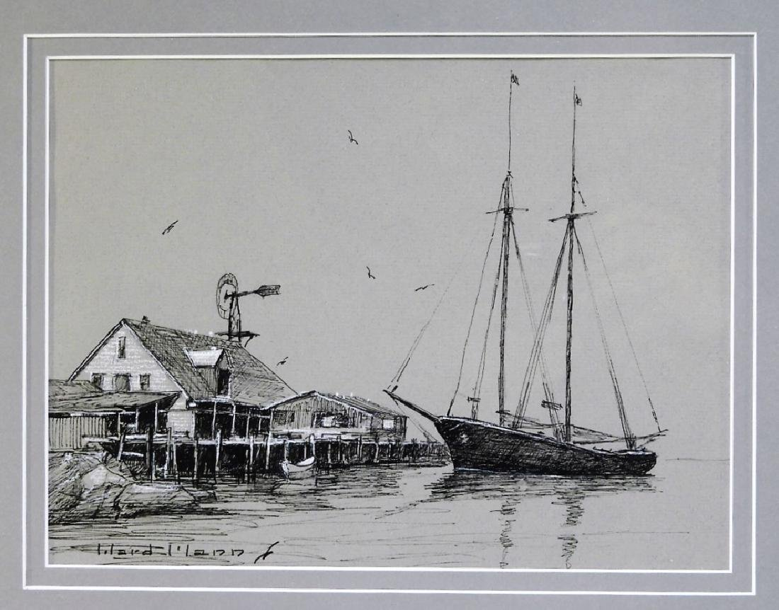 Ward Mann Massachusetts North Shore Harbor Sketch