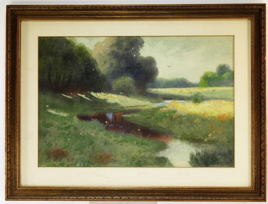 C.P Rising Spring Floral Stream Meadow Painting - 2