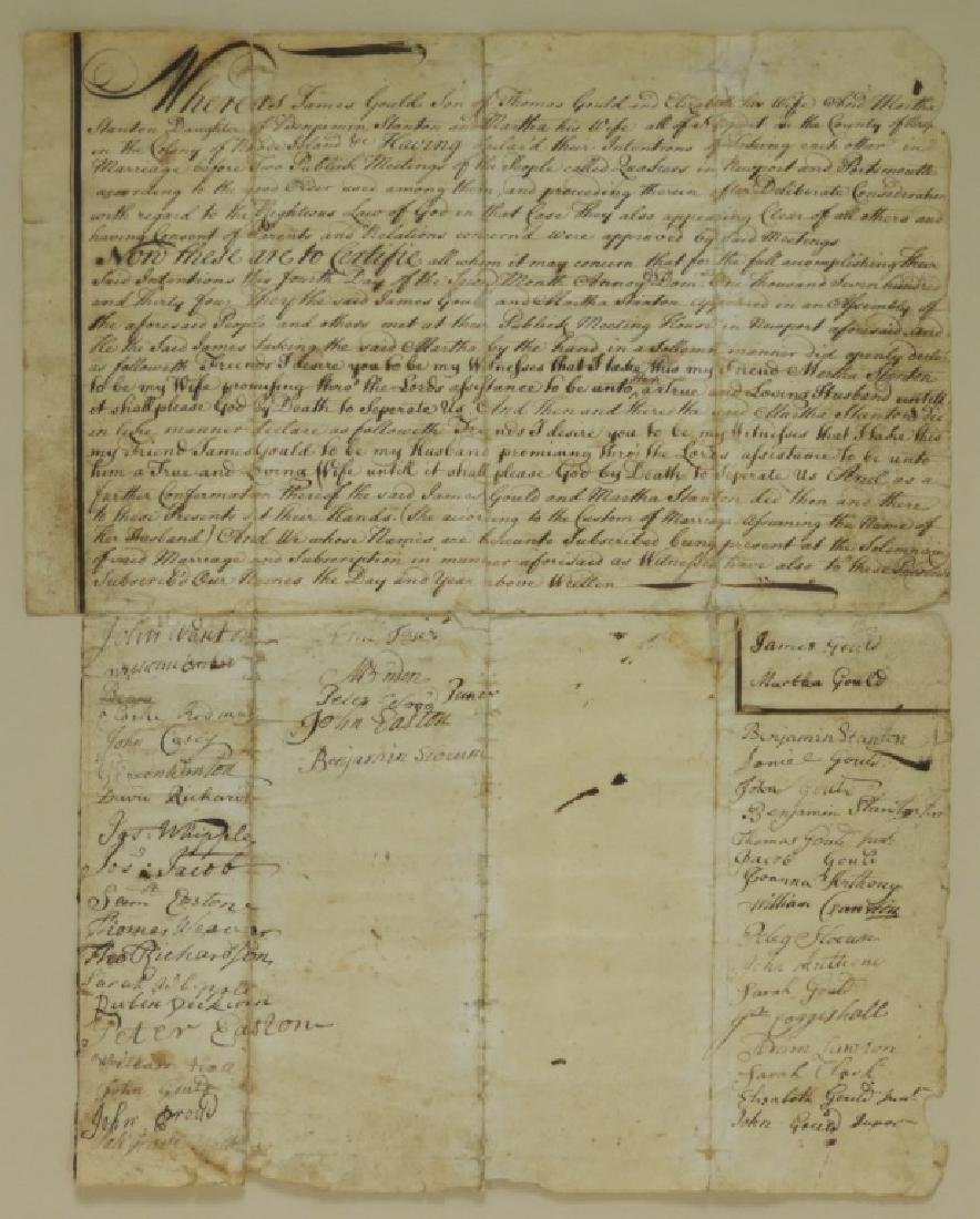 1734 Newport RI Quaker Marriage Certificate
