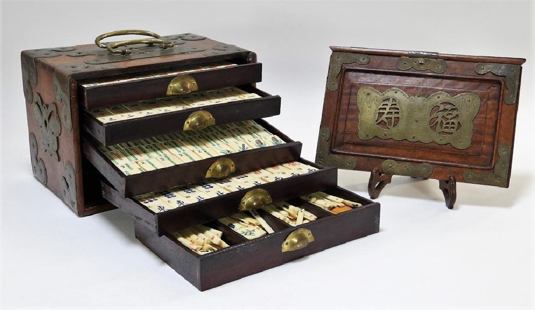 Chinese Carved Bone Huanghuali Box Mahjong Set