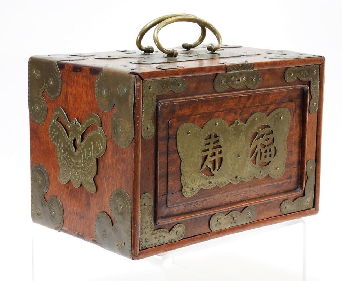 Chinese Carved Bone Huanghuali Box Mahjong Set - 2