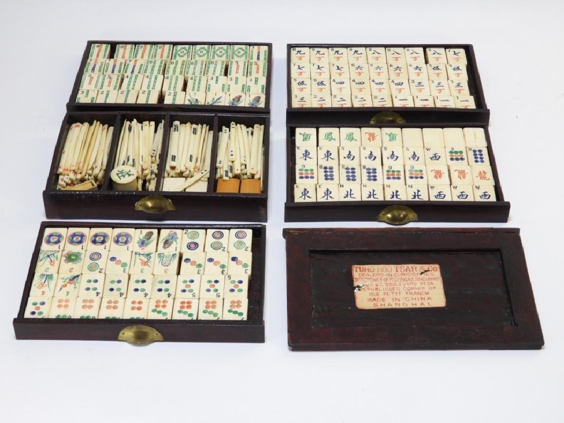 Chinese Carved Bone Huanghuali Box Mahjong Set - 7