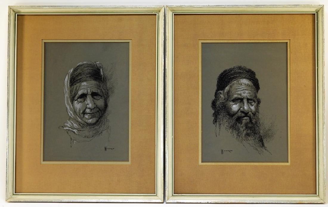2 William Weintruab Israeli Portrait Ink Drawings