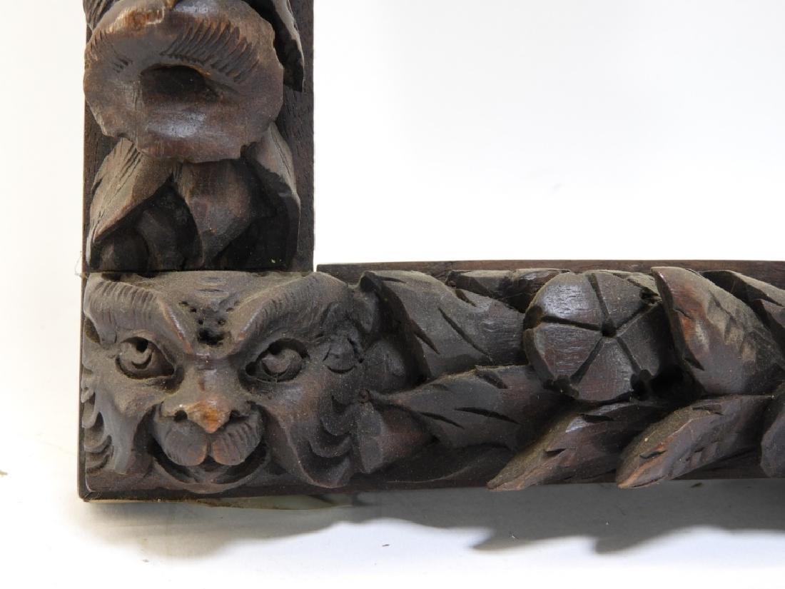 Black Forest Carved Lion Head & Fruit Frame