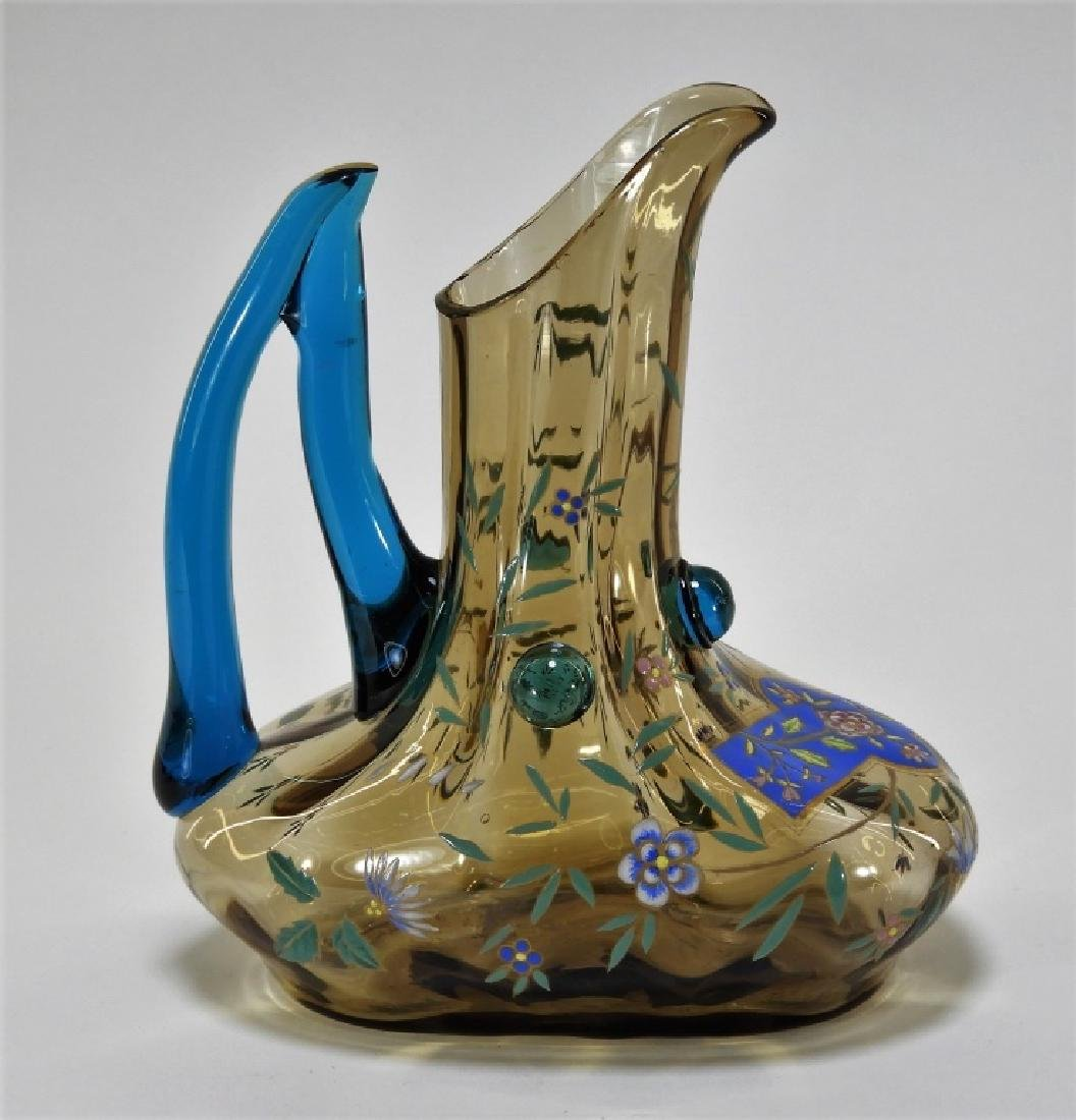 Moser Ribbed Enameled Art Glass Ewer