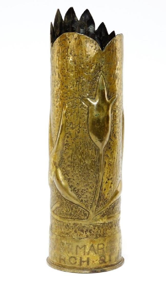 WW I Trench Art Brass Flower Vase