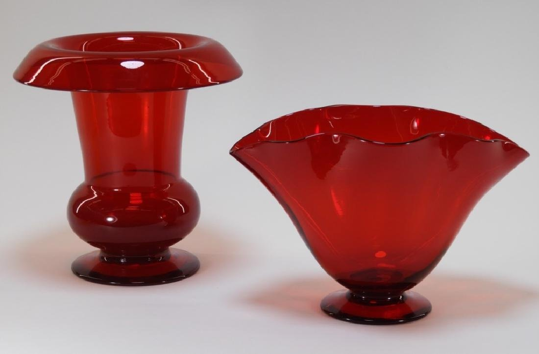2PC Pairpoint Ruby Red Art Glass Vases