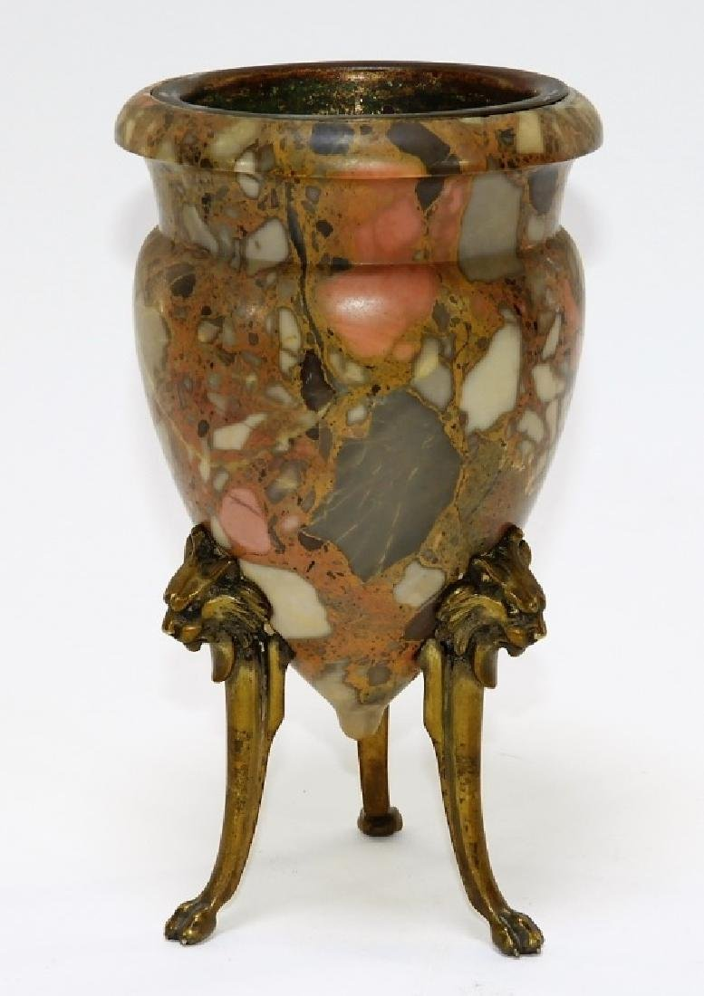 19C. French Bronze Mounted Puddingstone Vase