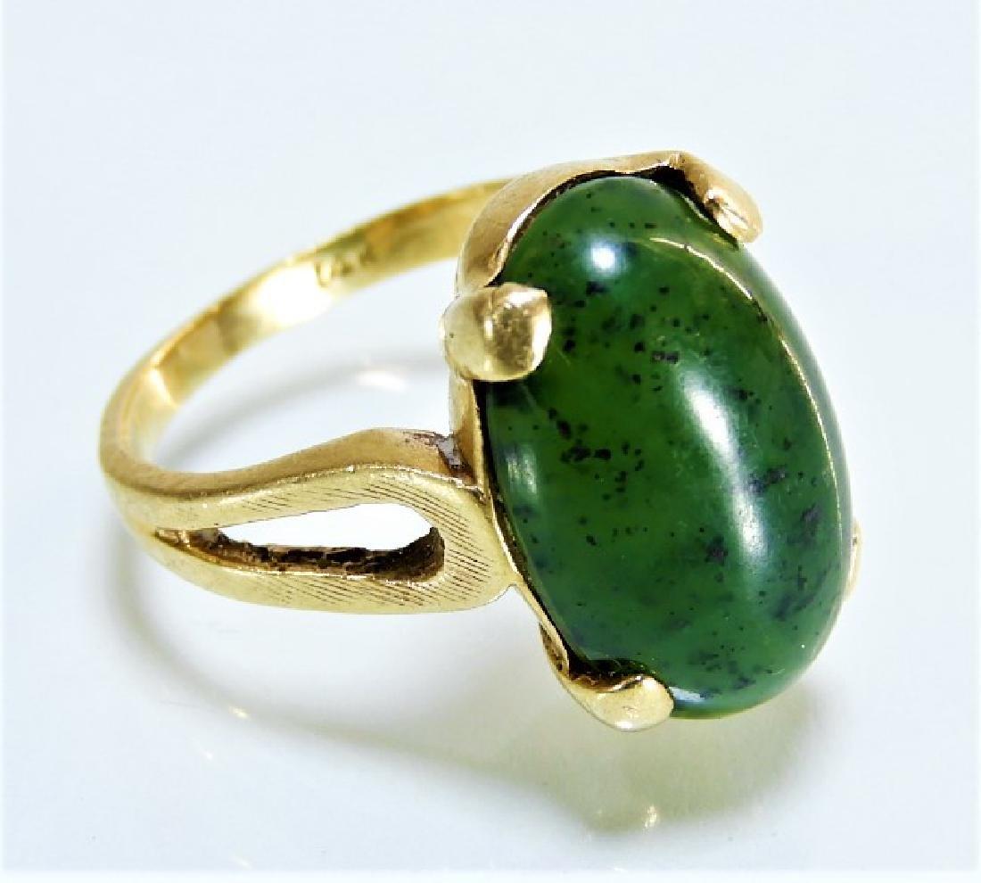 14 Karat Gold Spinach Jade Oval Cabochon Ring