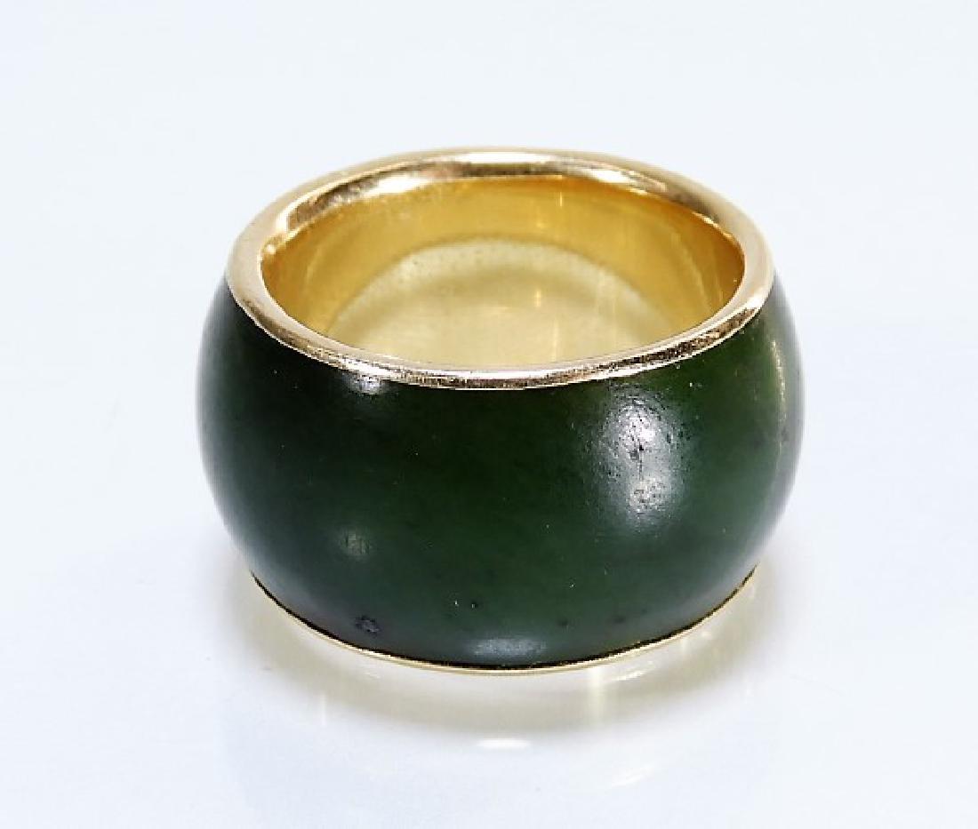 14 Karat Gold Chinese Spinach Jade Band