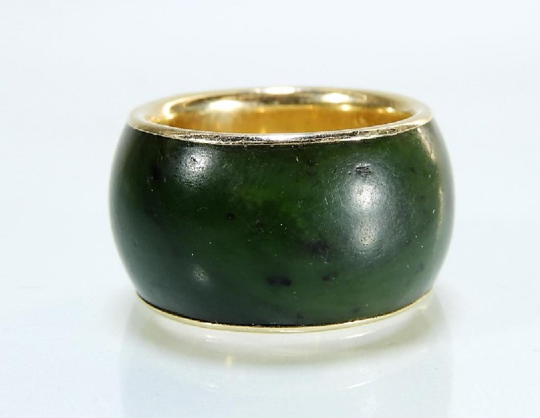 14 Karat Gold Chinese Spinach Jade Band - 2