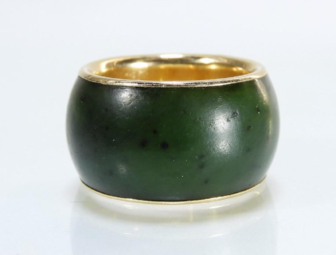 14 Karat Gold Chinese Spinach Jade Band - 3