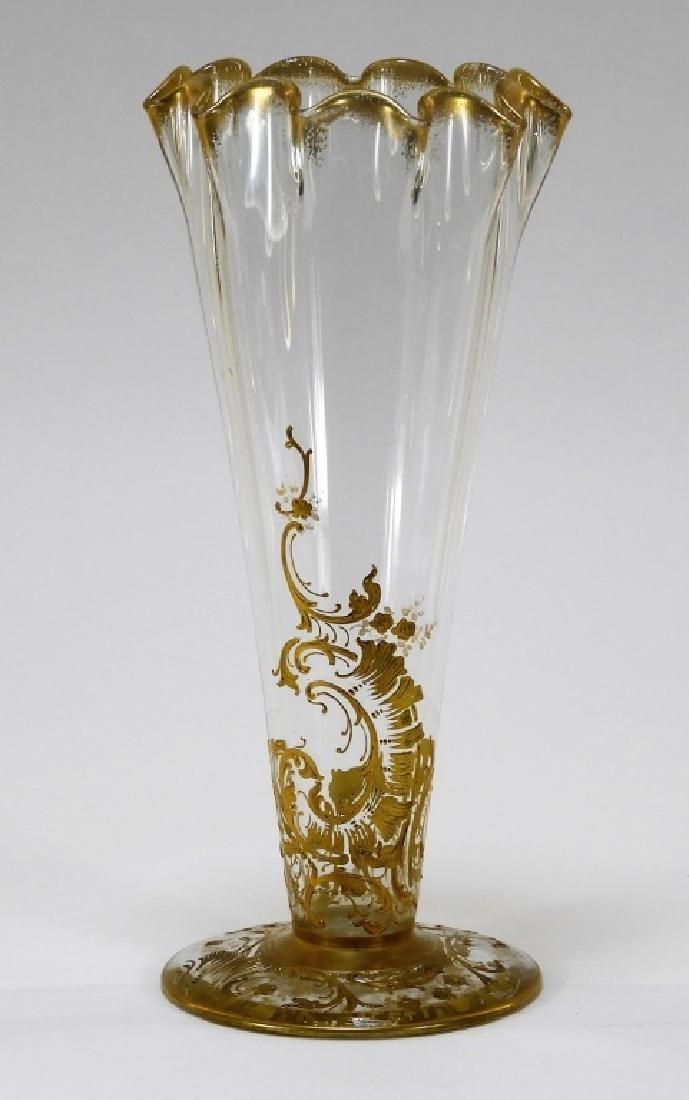 Bohemian Czech Art Glass Ruffled Gilt Enamel Vase